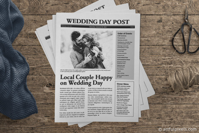 Wedding Day Post Newspaper Program