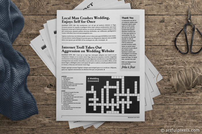 Wedding Day Post: back page with crossword puzzle
