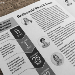 Wedding Newspaper Programs: relationship timeline and bridesmaid listings