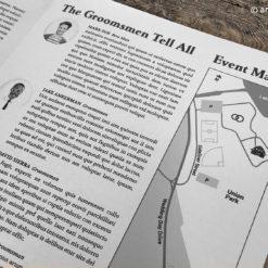 Wedding Newspaper Programs: custom map and groomsmen listings