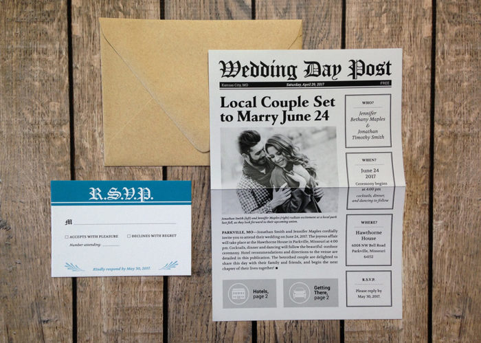 2-Page Wedding Newspaper Invitation