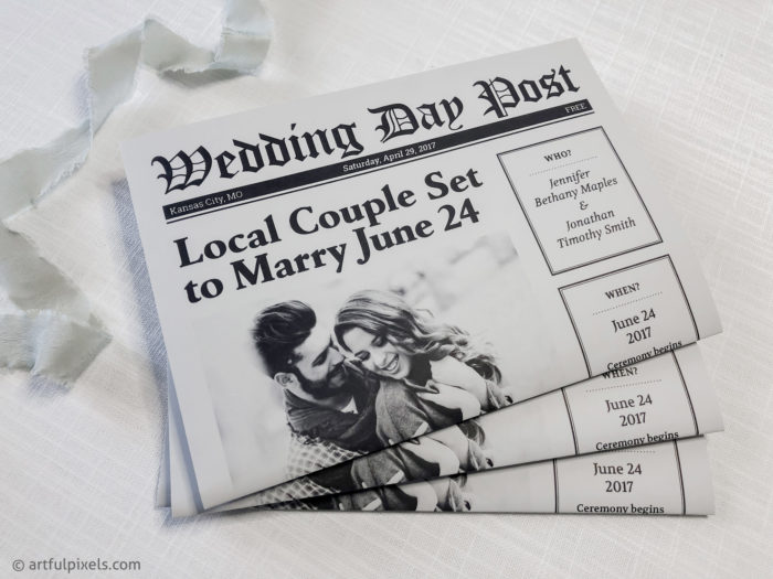 Newspaper Wedding Invitation