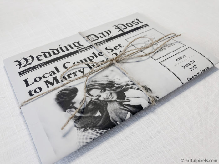 Newspaper Wedding Invitation with twine