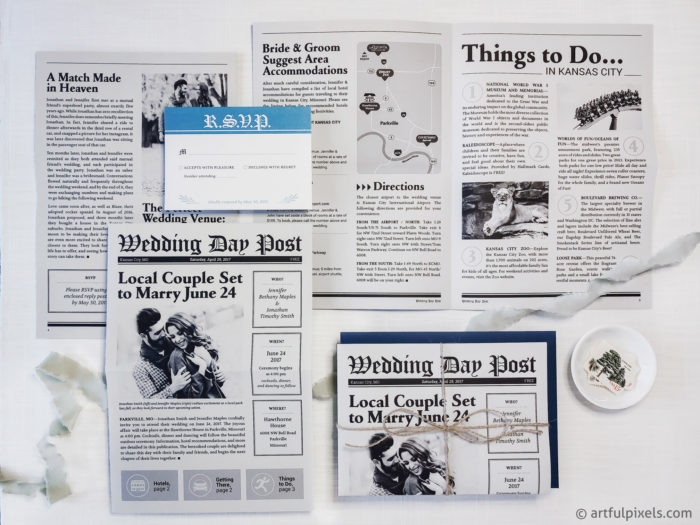 4-page Newspaper Wedding Invitation Suite
