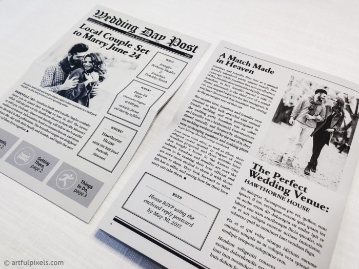 Wedding Newspaper Invitation, front and back design