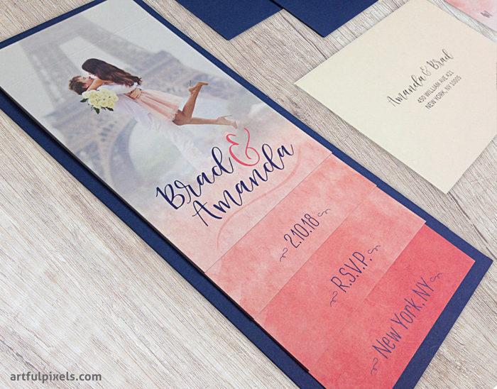Watercolor Ombre Booklet Wedding Invitation Suite