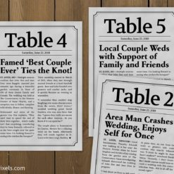 Wedding Newspaper Table Numbers