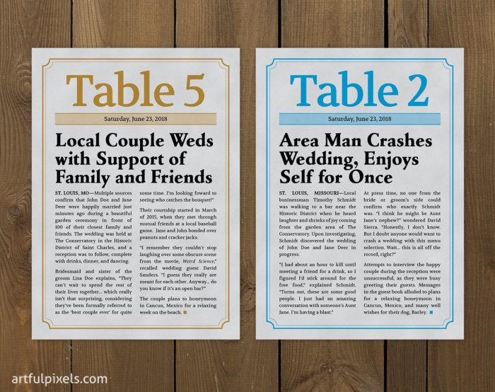 Wedding Newspaper Table Numbers with color accents