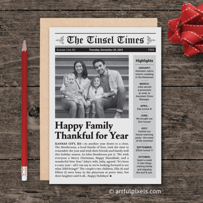 Custom Newspaper Christmas Card