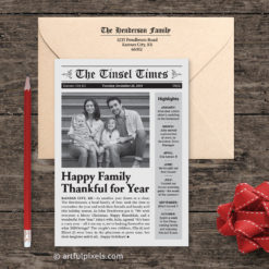 Newspaper Holiday Card, with printed return address on envelope