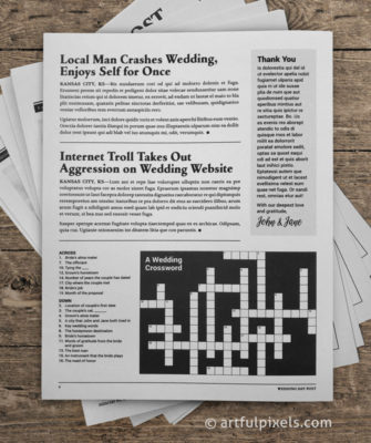 Wedding Day Post back page crossword puzzle