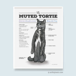 Muted Tortie Diagram Watercolor Print