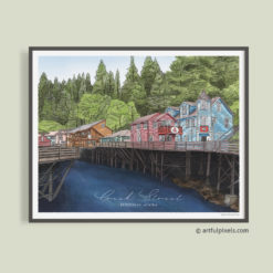 Creek Street in Ketchikan, Alaska - Watercolor Art Print