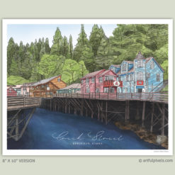 Creek Street in Ketchikan, Alaska - Watercolor Art Print - 8x10