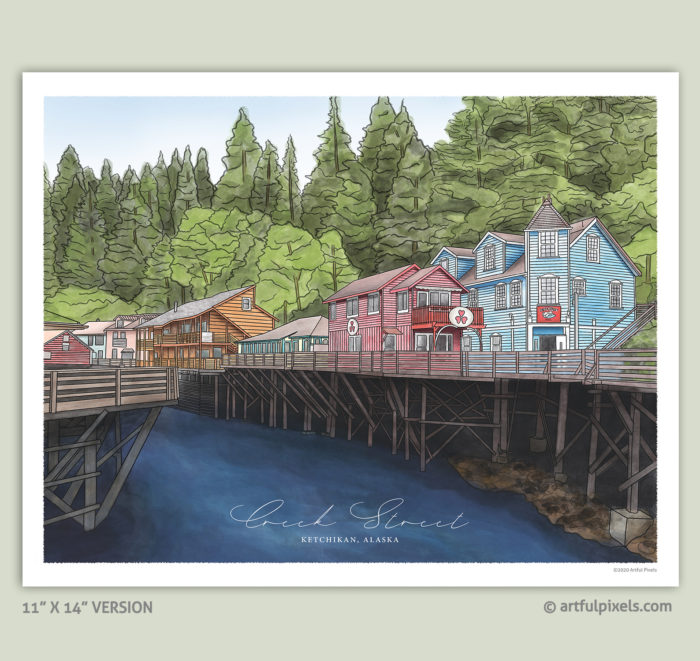Creek Street in Ketchikan, Alaska - Watercolor Art Print 11x14""