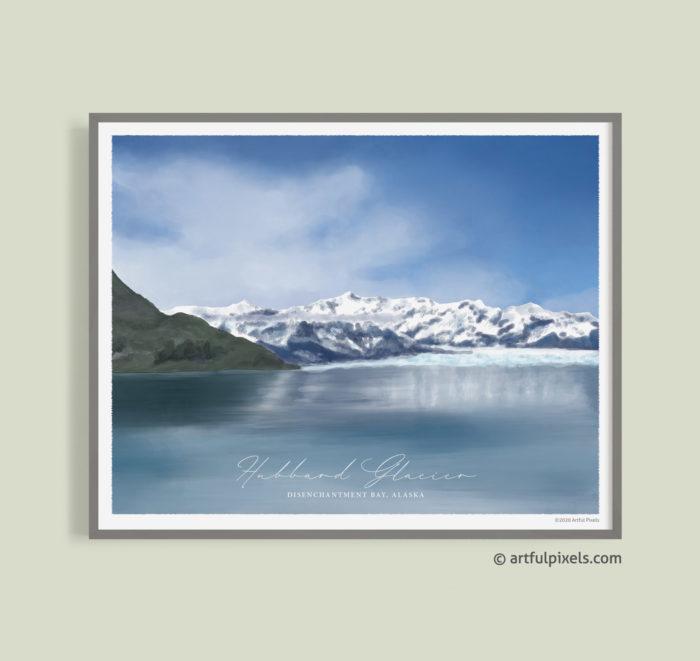 Hubbard Glacier, Alaska - Watercolor Painting Art Print