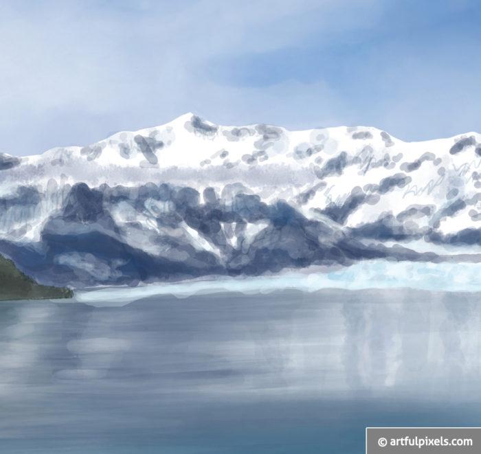 Hubbard Glacier Watercolor Painting closeup