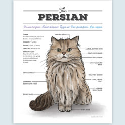 Persian Cat Watercolor Art Print with Diagram Chart