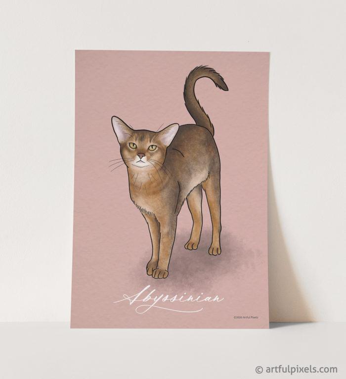 Abyssinian cat art print watercolor