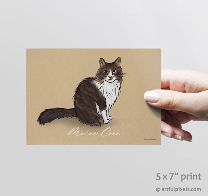 Maine Coon cat art print 5x7