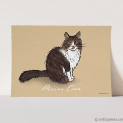Maine Coon cat art print yellow background