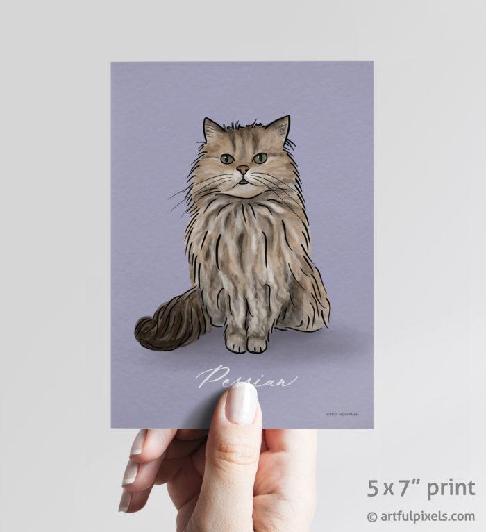 Persian cat art print 5x7