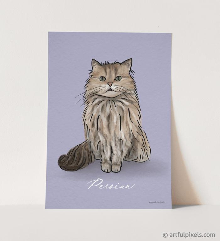 Persian cat art print watercolor