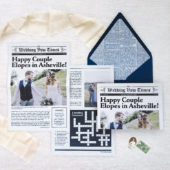 Newspaper Elopement Announcement, two-sided, folded with navy envelope and liner