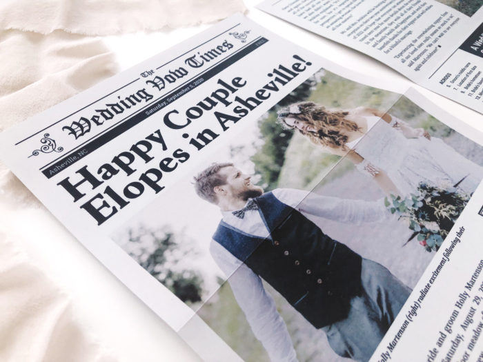 Elopement Newspaper front page close-up