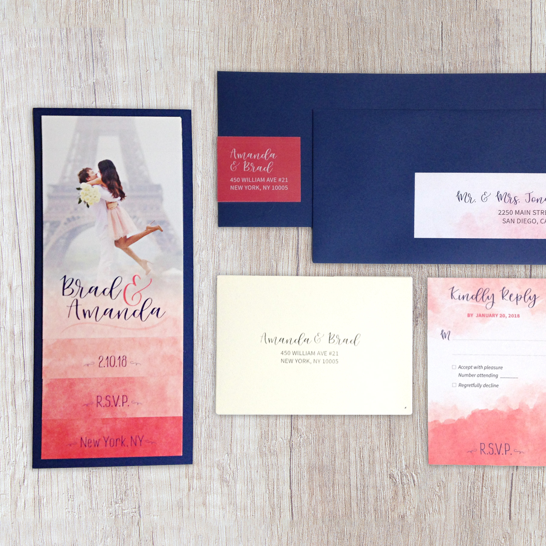 Watercolor tiered booklet wedding invitation