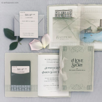 Library Book Theme Wedding Invitation Details