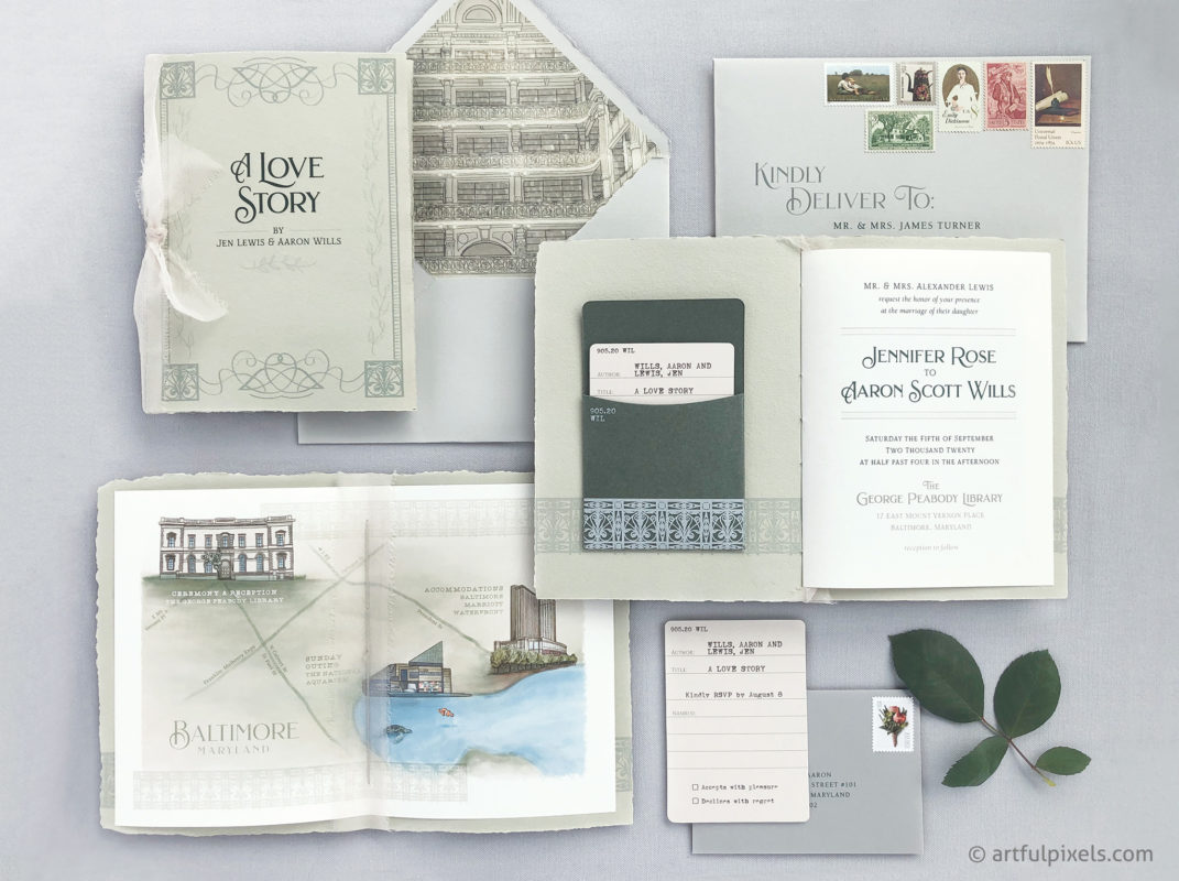 Library book invitation suite with sage green handmade paper, custom map, library card RSVP and venue illustration details.