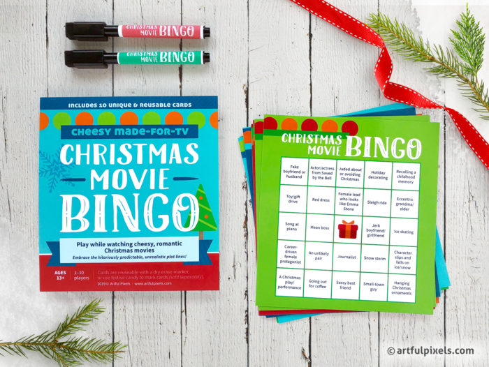 Cheesy Christmas Movie Bingo Game Cards