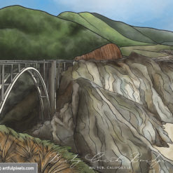 Close-up of Bixby Bridge watercolor illustration