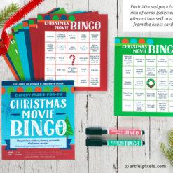 Christmas Movie Bingo 10-card stocking stuffer pack