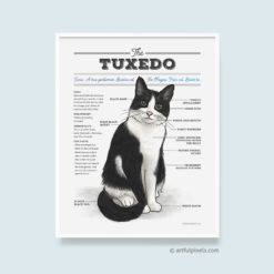 Tuxedo Cat Diagram Art Print