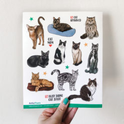 Cat Sticker Sheet with 10 different cute cats