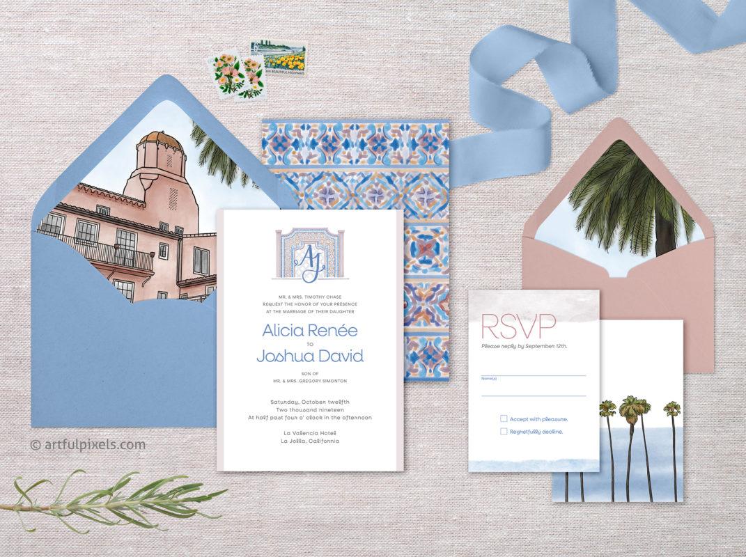 La Jolla wedding invitation suite at La Valencia