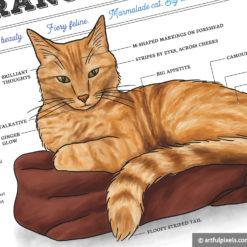 Orange Tabby Cat Watercolor Art Print detail close-up