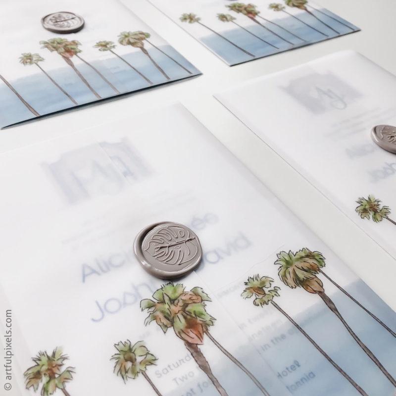 Vellum wrapped invitations with wax seals for La Valencia wedding