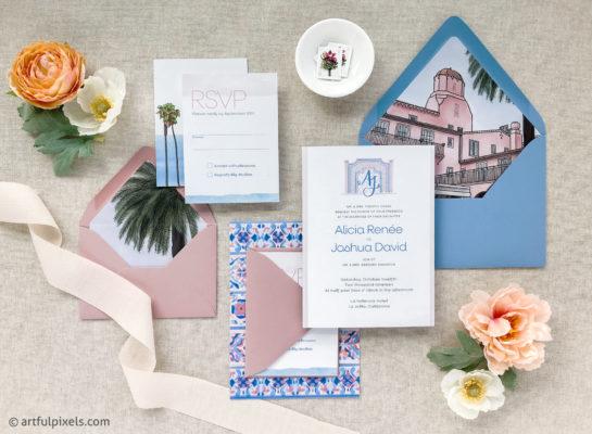 La Jolla Wedding Invitation for La Valencia Hotel