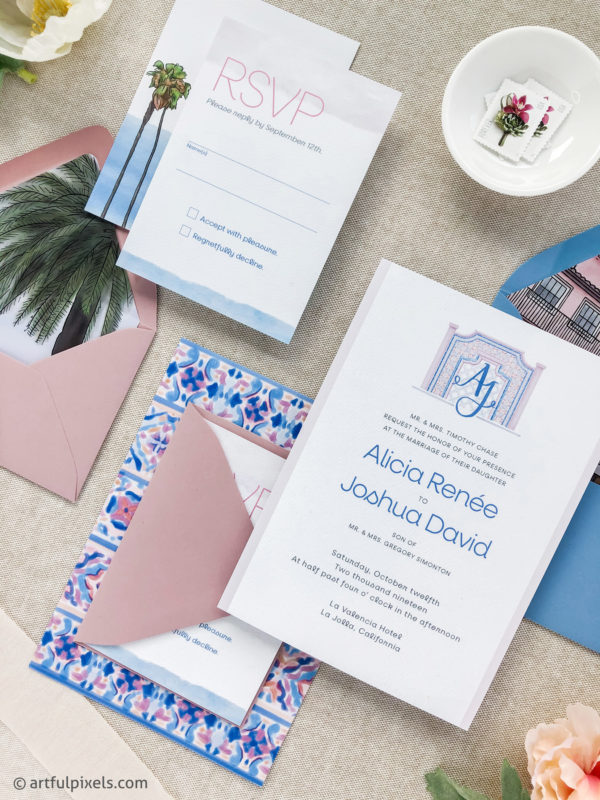La Valencia wedding invitations with colorful spanish tile illustrations
