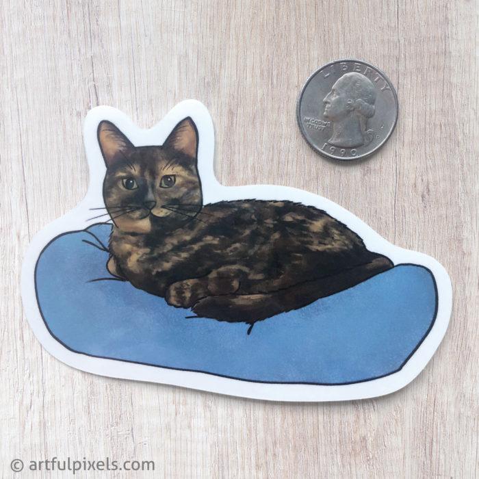 Tortoiseshell Cat Sticker size comparison