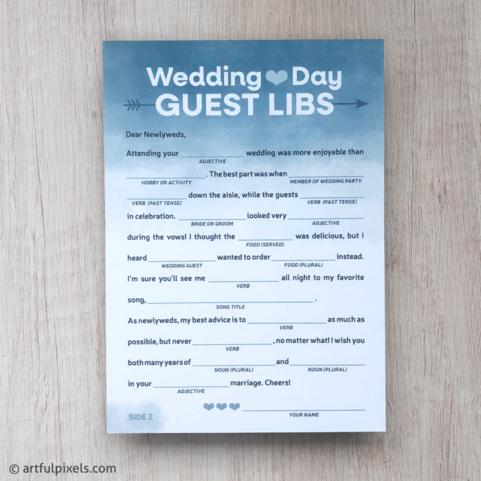 Wedding Day Guest Libs Card