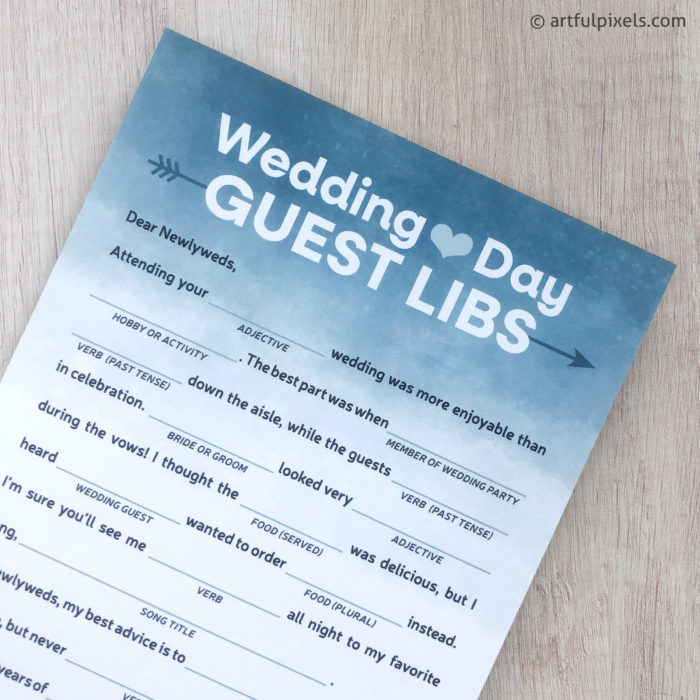 Wedding Day Guest Libs Card in dusty blue
