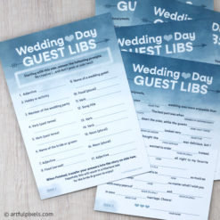 2-sided Wedding Mad Libs cards