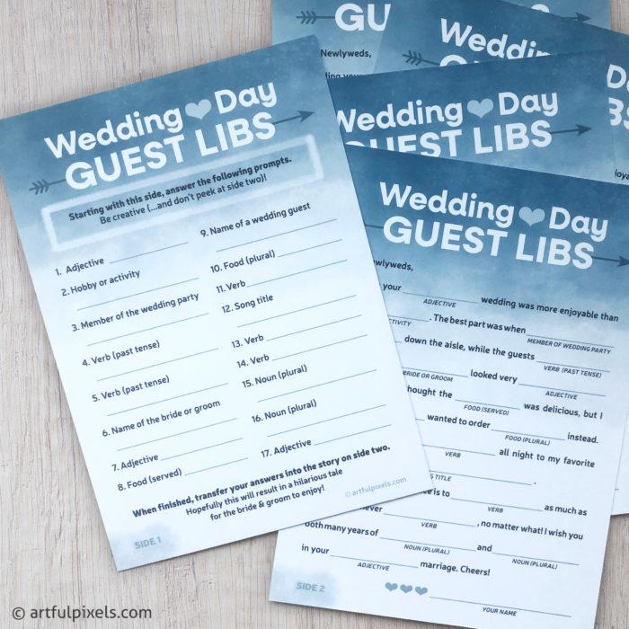 2-sided Wedding Mad Libs cards