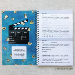 Movie review notebook, interior page and inside front cover design