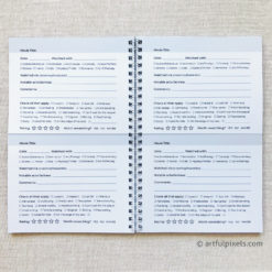 Movie review journal, interior pages