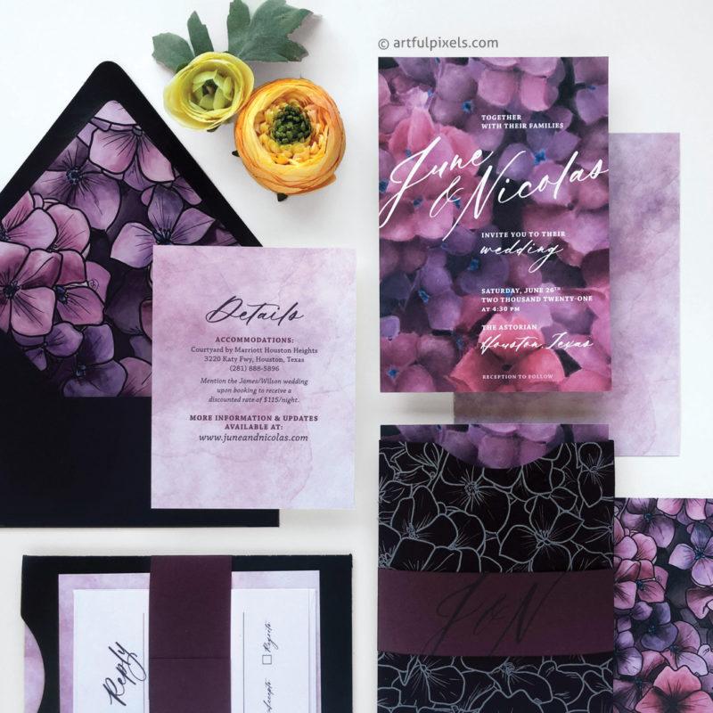 Dark and moody floral wedding invitation